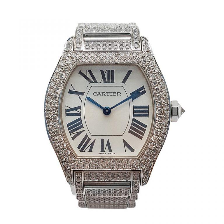 Cartier 18K White Gold Diamond Tortue Watch