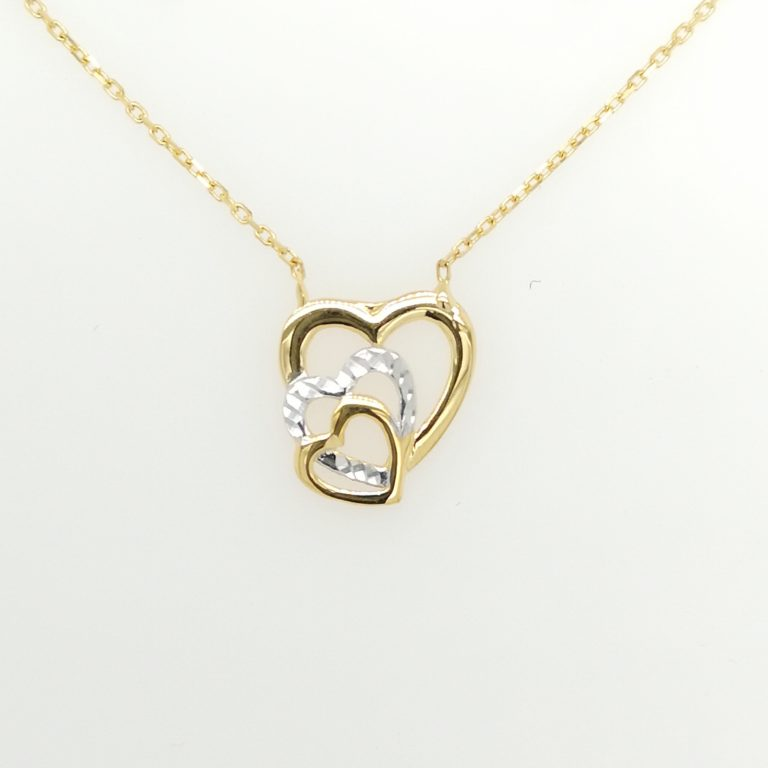 Two Tone Triple Hearts Necklace