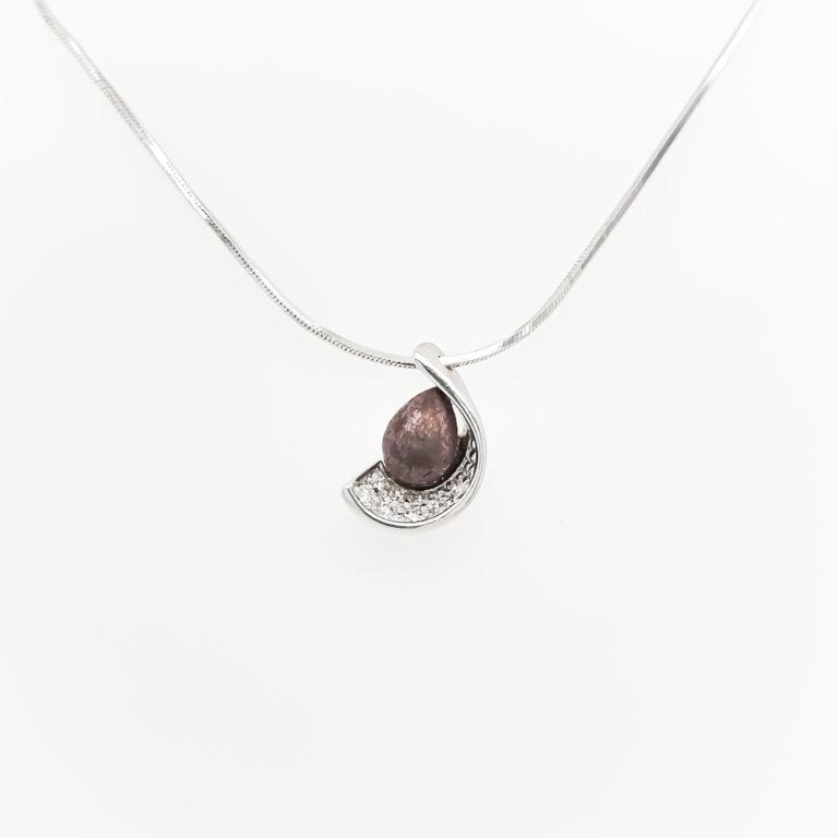 Mixed Purple Gold & Diamond Necklace