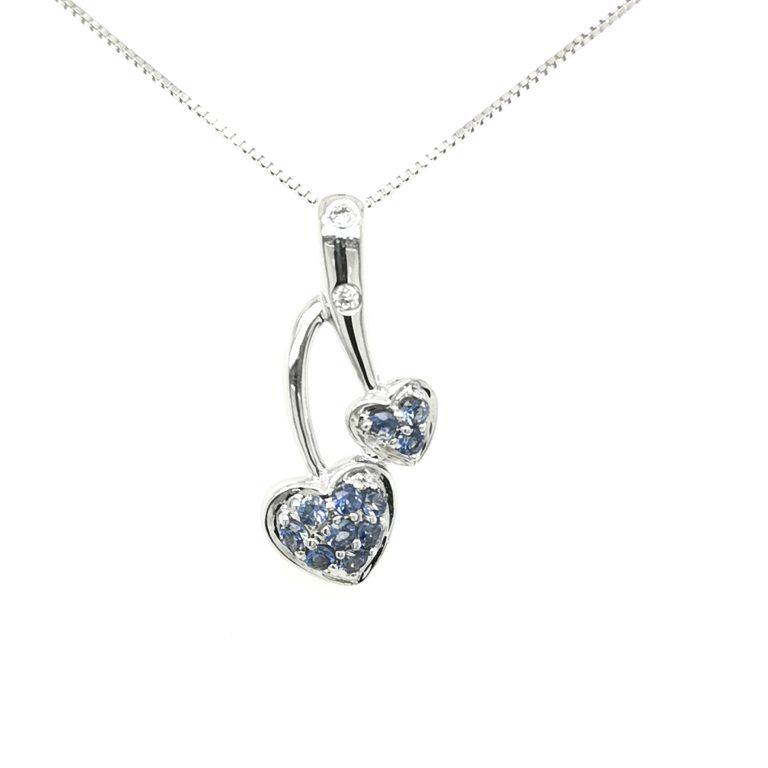 Heart Motif Blue Sapphire Diamond Pendant