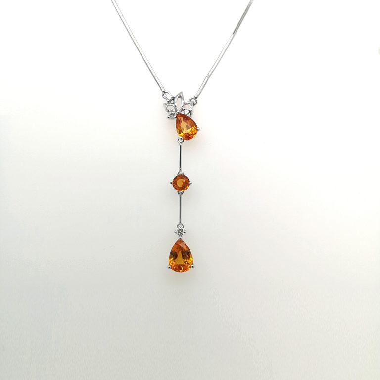 Orange Sapphire & Diamond Necklace