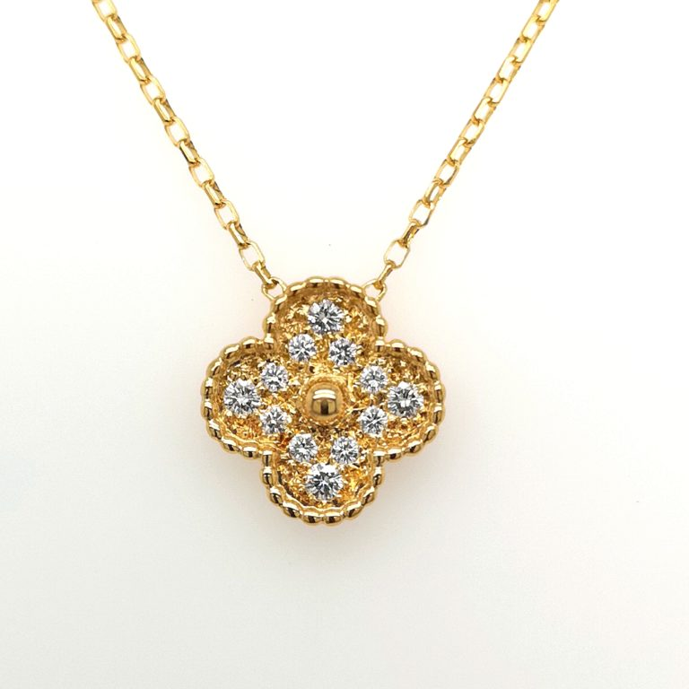 Flower Motif Diamond Necklace