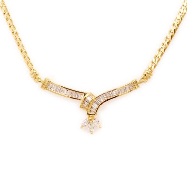 Gold Wave Diamond Necklace