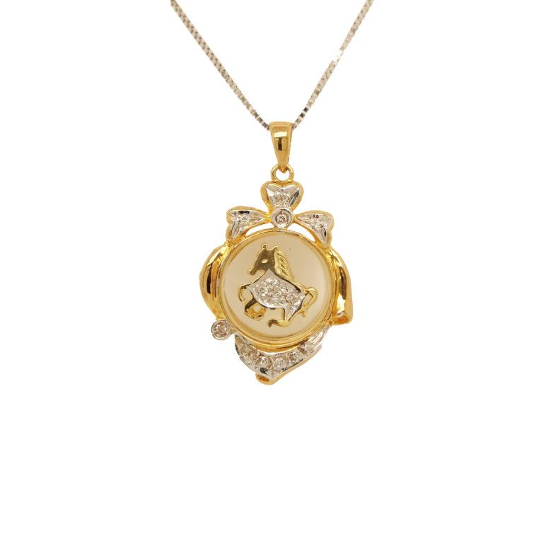 Two Tone Gold Horse Diamond Pendant