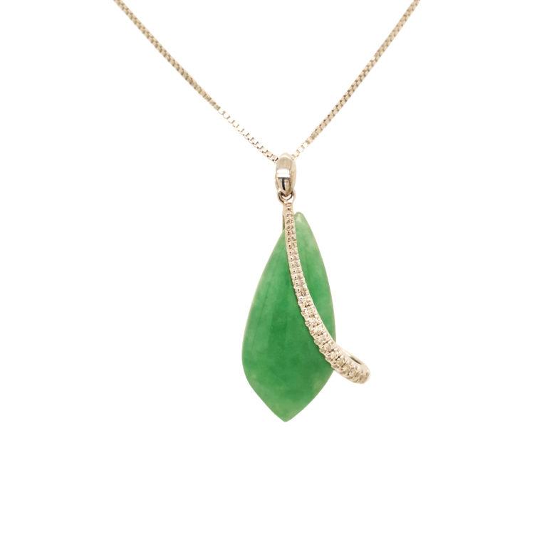 White Gold Jade Diamond Pendant