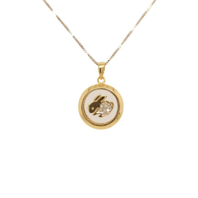 Two Tone Gold Rabbit Diamond Pendant
