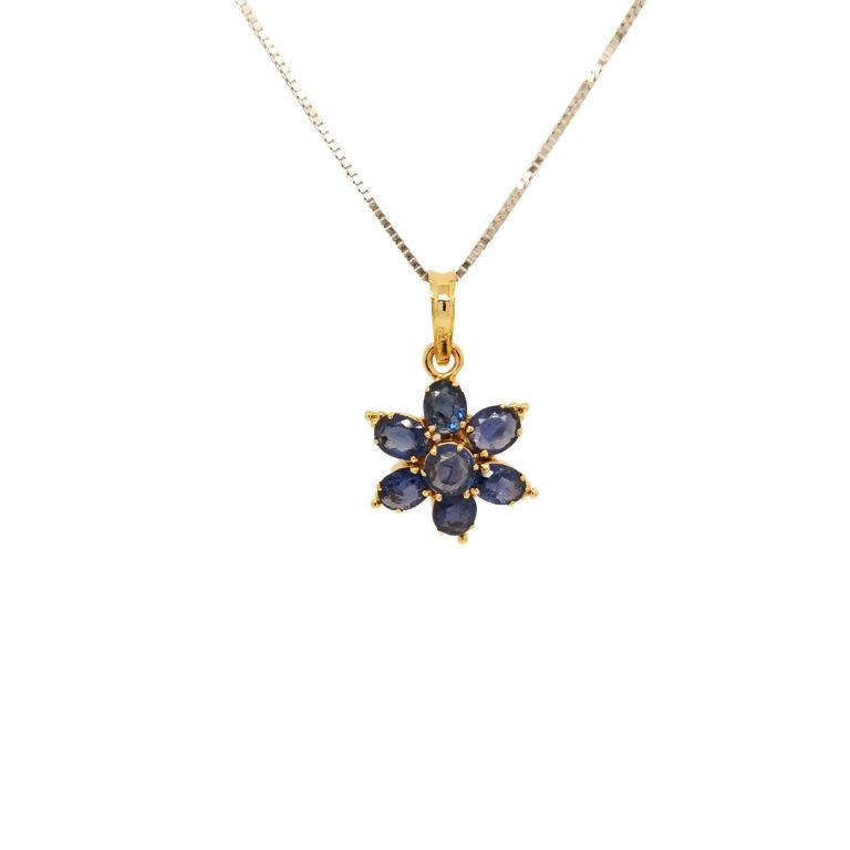 Blue Sapphire Gems Flower Shaped Pendant