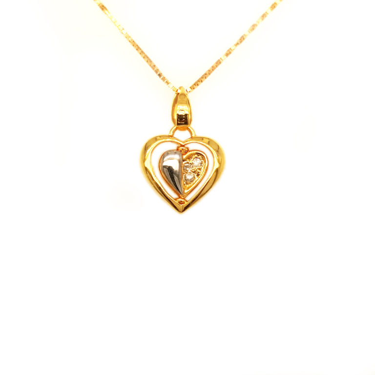 18K Yellow Gold 2 Tone Heart Diamond Pendant