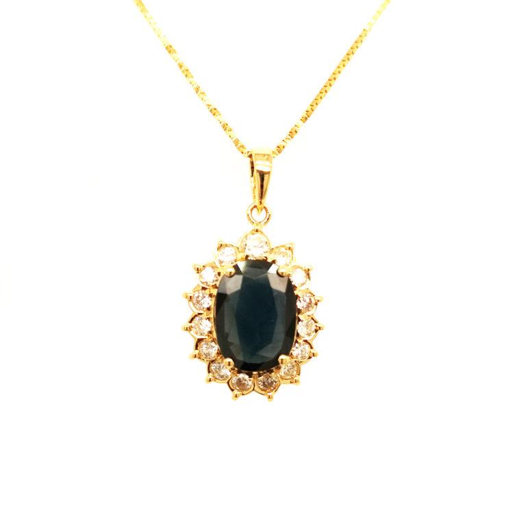 18K Yellow Gold Diamond Blue Sapphire Pendant