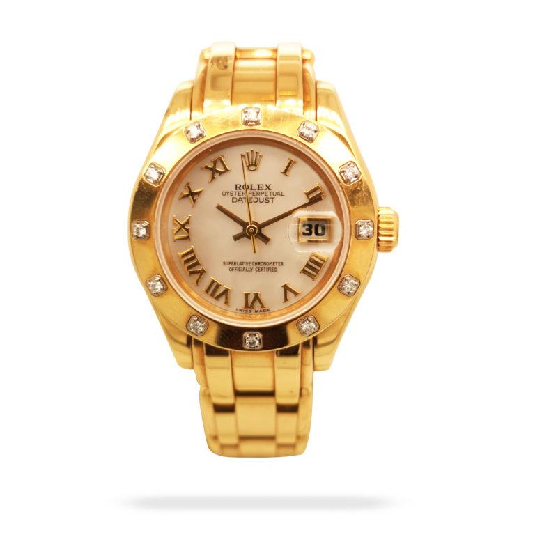Rolex Lady Datejust Pearlmaster 18K Yellow Gold Diamond 69318 Watch