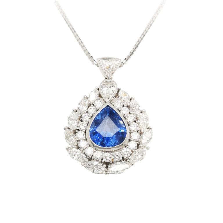 18K White Gold Diamond Blue Sapphire Pendant