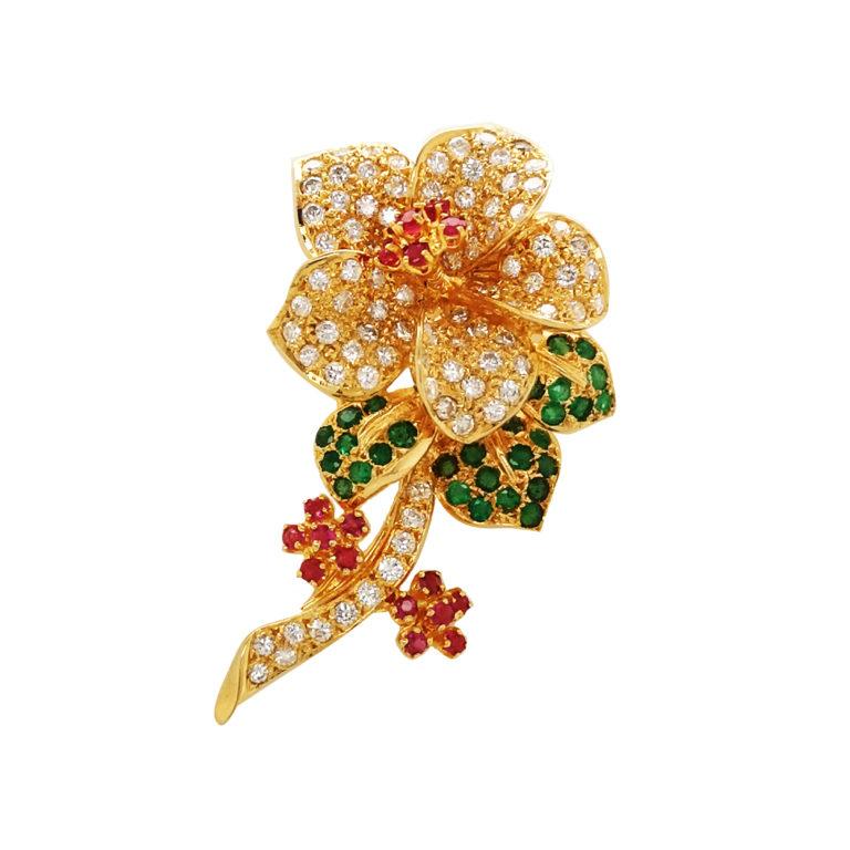 18K Yellow Gold Diamond Emerald/Ruby Brooch
