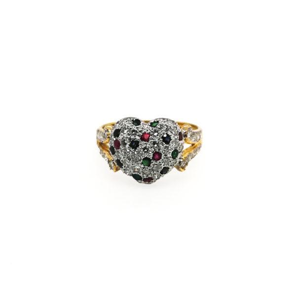 18K Yellow Gold Diamond Gem Ring | 0.88 Carat Diamonds