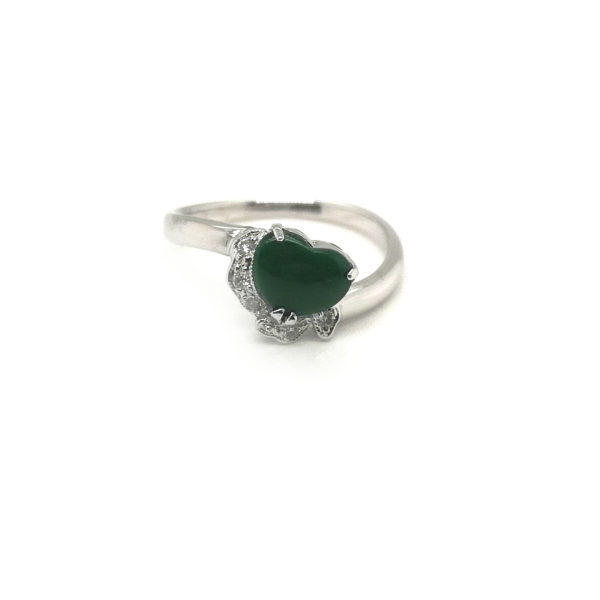 18K White Gold Diamond Jade Ring