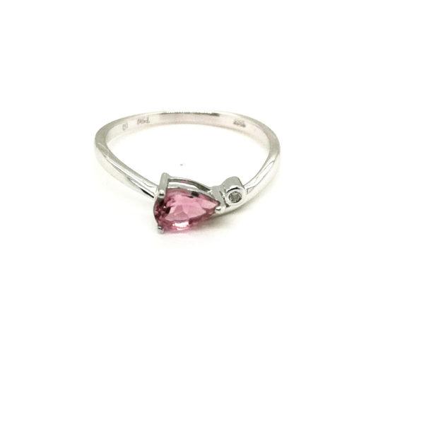 18K White Gold Diamond Pink Sapphire Ring