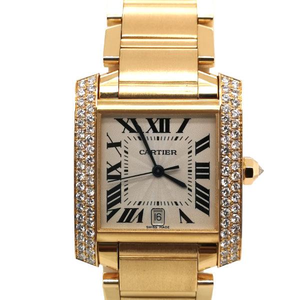 Cartier Tank Francaise Diamond 18K Yellow Gold 1840 Watch