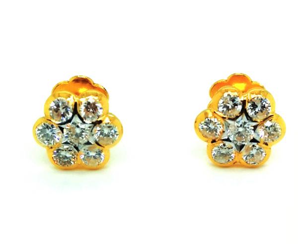 22K Yellow Gold Diamond Stud Earring