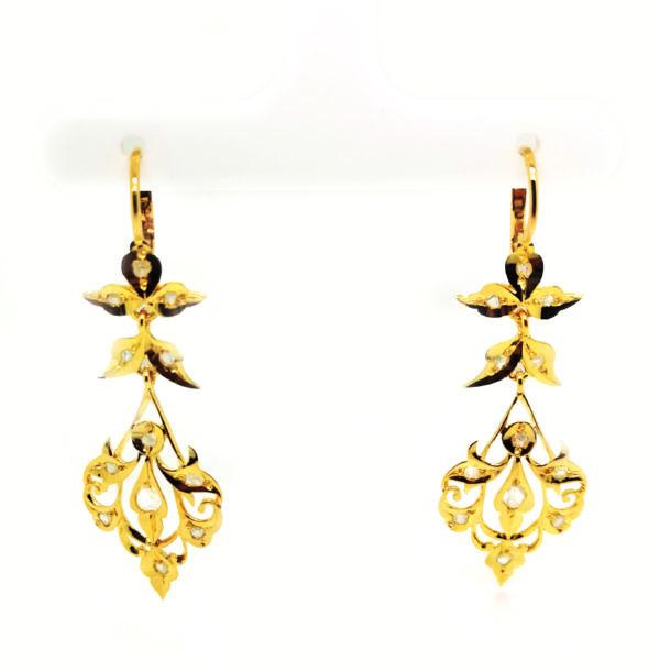 18K Yellow Gold Intan Earring