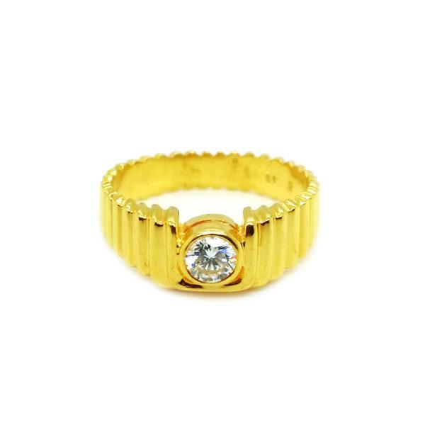 20K Yellow Gold Men's Diamond Ring