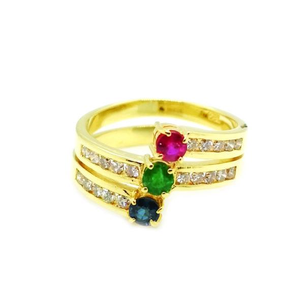 18K Yellow Gold Coloured Gem Diamond Ring