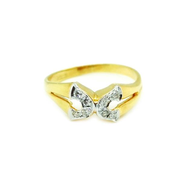 18K Yellow Gold Diamond Two Tone Ring