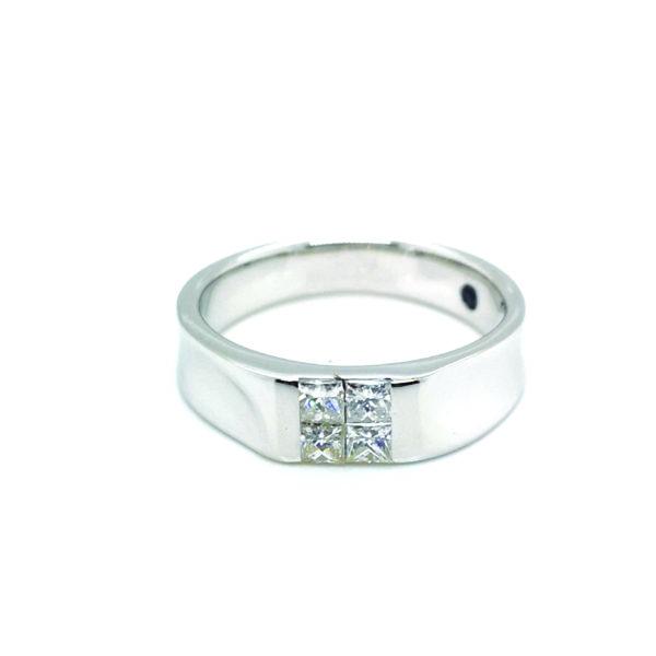 18K White Gold Diamond Blue Sapphire Ring