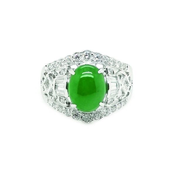 18K White Gold Diamond Jade Ring