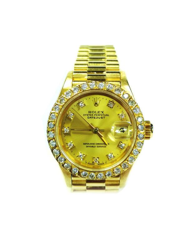 Rolex 18K Yellow Gold Diamond 69178 Watch