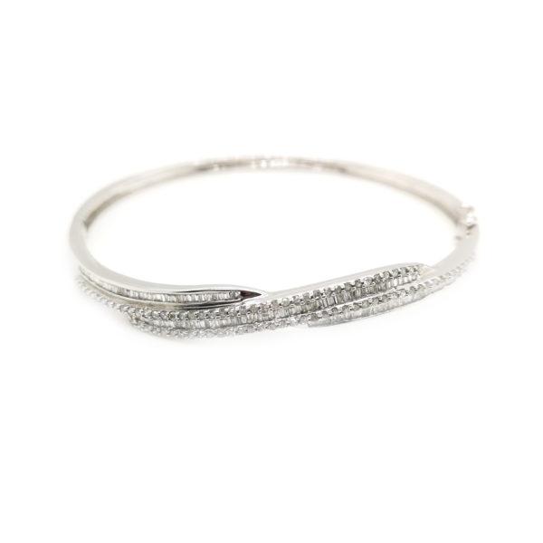 9K White Gold Diamond Bangle