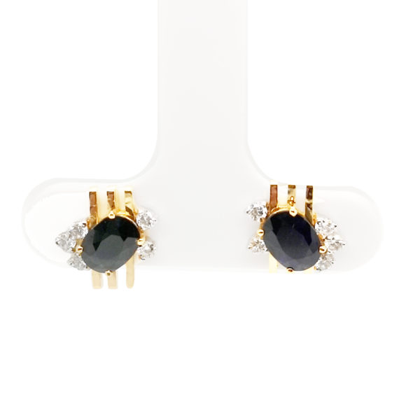 18K Yellow Gold Diamond Blue Sapphire Earstud