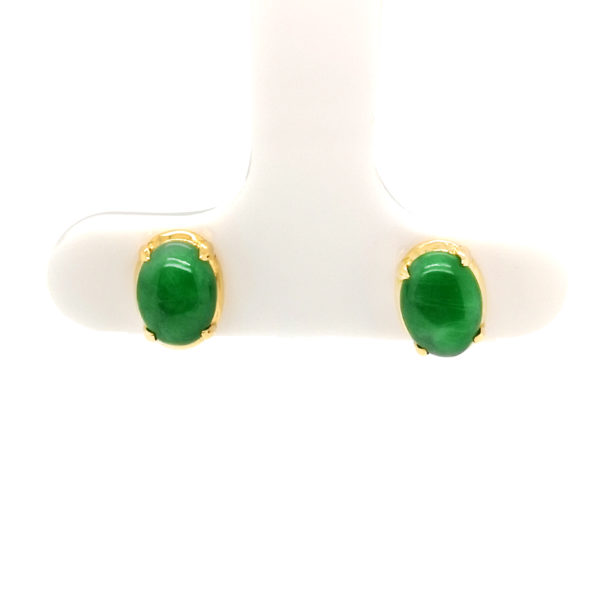 22K Yellow Gold Jade Earstud