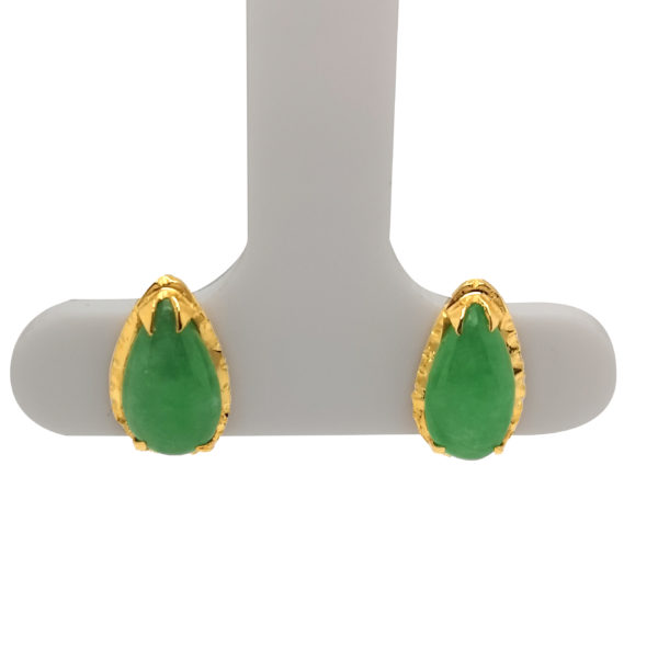 20K Yellow Gold Jade Earstud