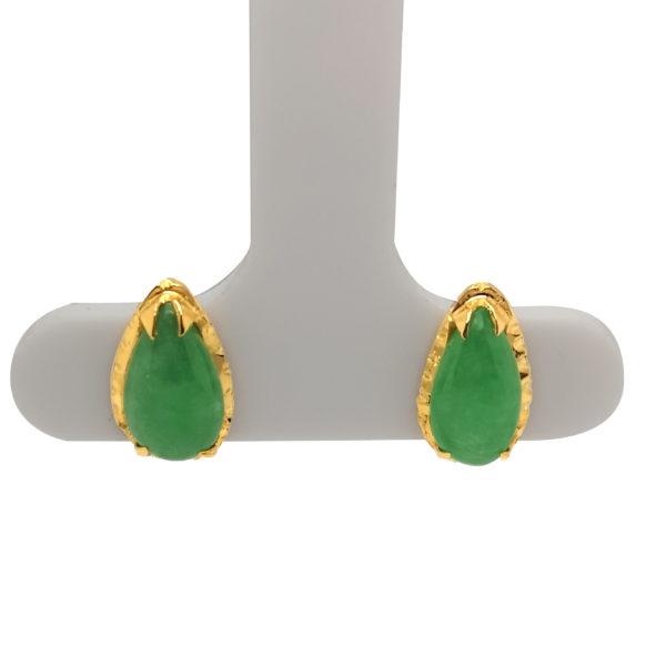 20K Yellow Gold Jade Earstud