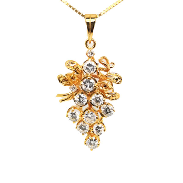 20K Yellow Gold Diamond Pendant