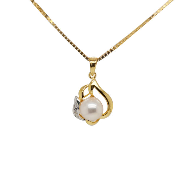 20K Yellow Gold Diamond Pearl Two Tone Pendant