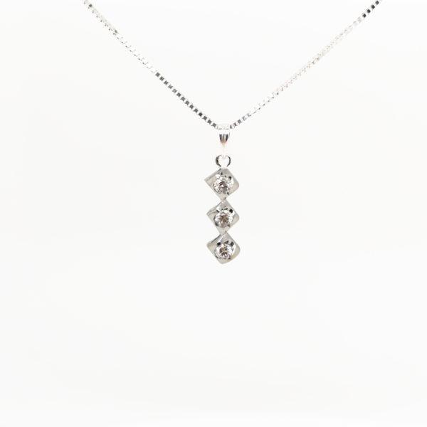 8K White Gold Diamond Pendant