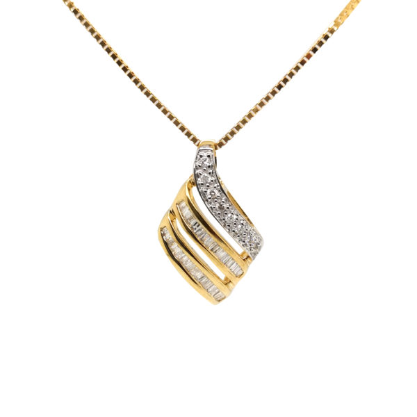 18K Yellow Gold 2 Tone Diamond Pendant