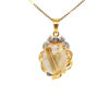 20K Yellow Gold Diamond Stone Two Tone Pendant