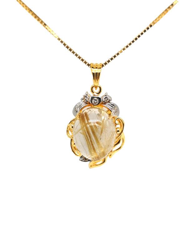 20K Yellow Gold Diamond Stone Two Tone Pendant