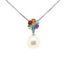 18K White Gold Pearl Mix Semi Precious Stones Pendant
