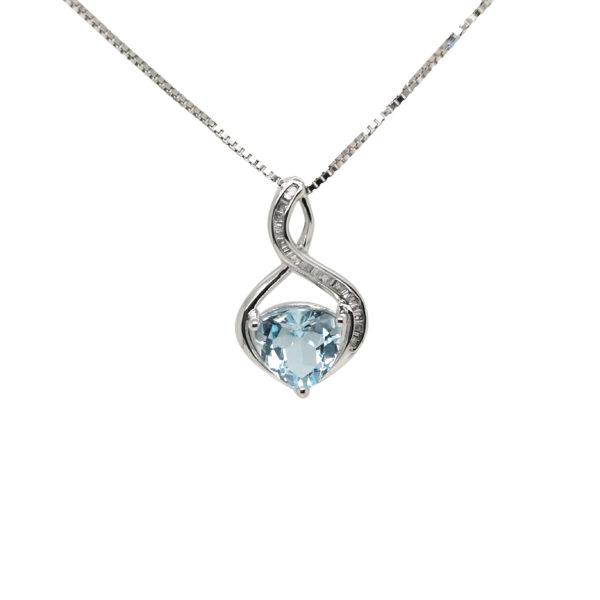9K White Gold Aquamarine Diamond Pendant
