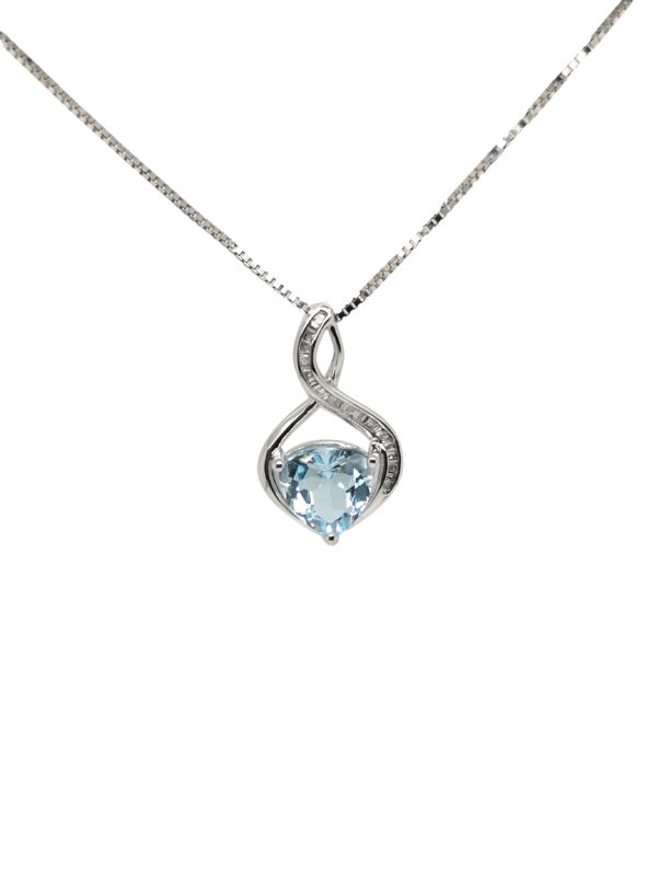9K White Gold Aquamarine Diamond Pendant