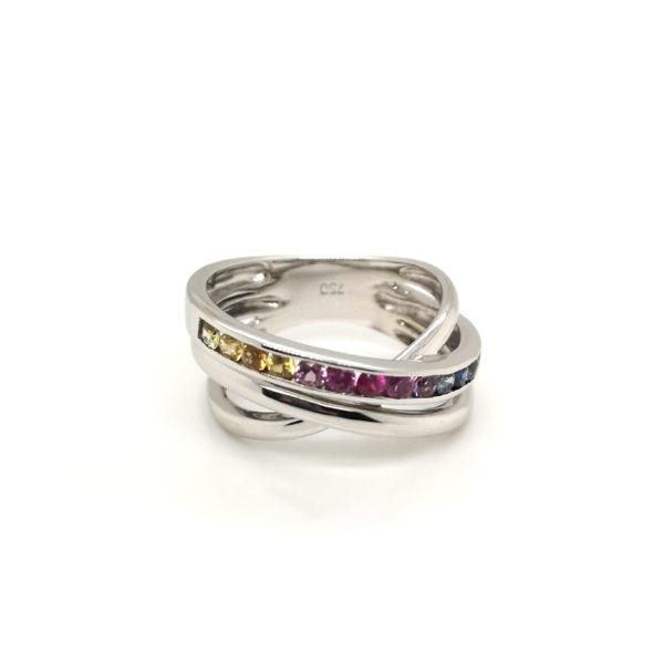 18K White Gold Coloured Sapphire Ring