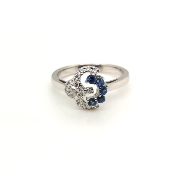 18K White Gold Blue Sapphire Diamond Ring