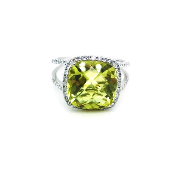 18K White Gold Lemon Quartz & Diamond Ring