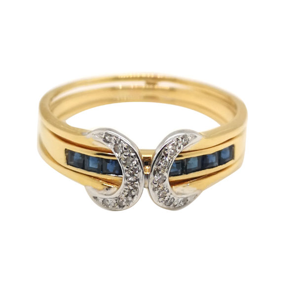 20K Yellow Gold Diamond Blue Sapphire Ring