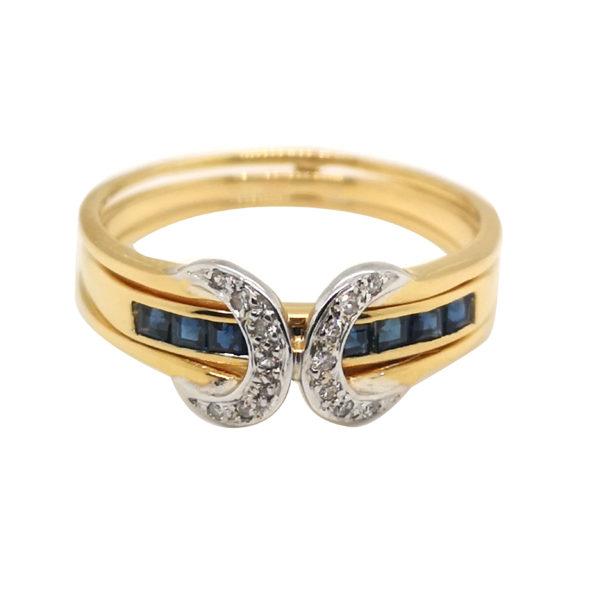 20K Yellow Gold Diamond Blue Sapphire Ring