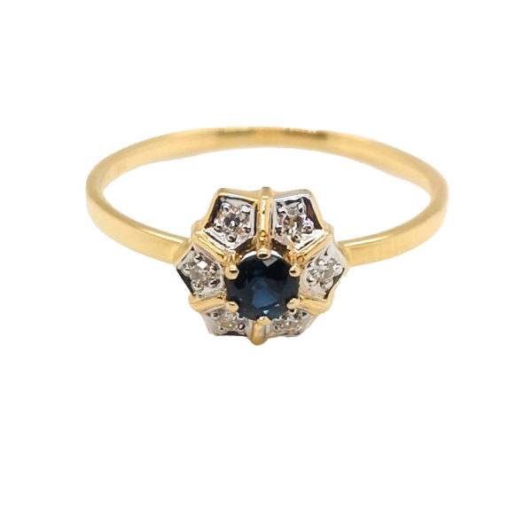 18K Yellow Gold Diamond Blue Sapphire Two Tone Ring