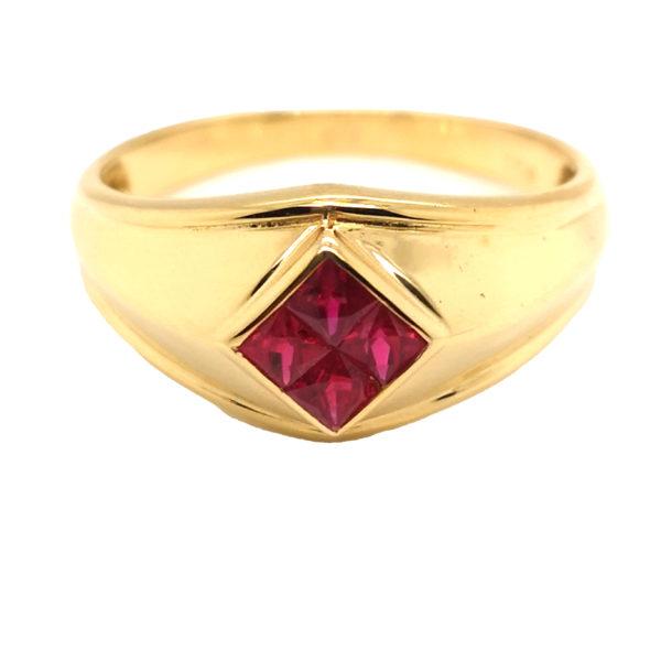 18K Yellow Gold Ruby Ring