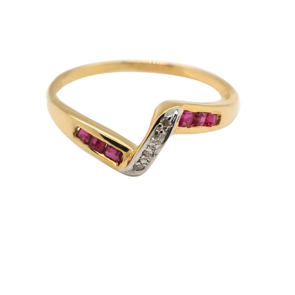 20K Yellow Gold Diamond Ruby Two Tone Ring